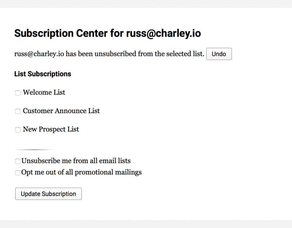 Charley Email Subscription Portal