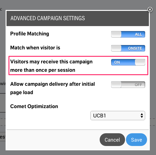 Deliver Once per Session in Web Manual Campaigns