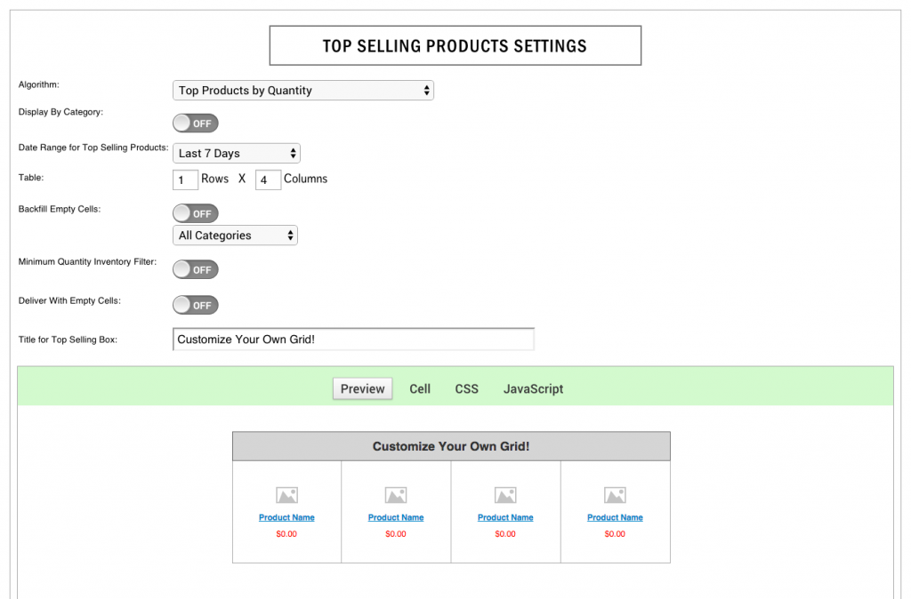 Customize your own Top Selling Products Grid