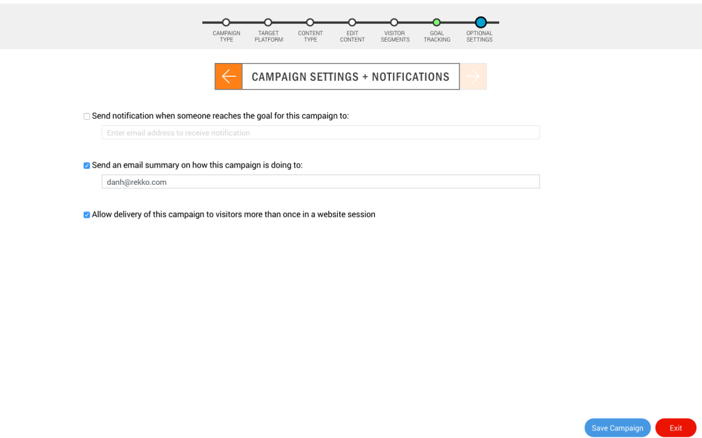 Campaign Settings and Notifications in Content Delivery Wizard