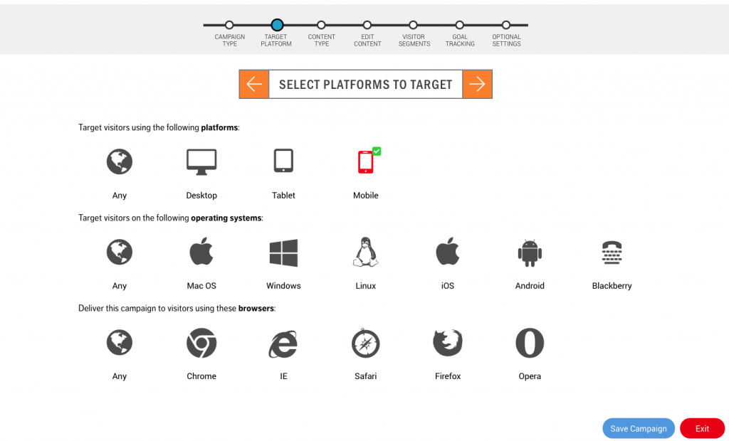Content Delivery Wizard - Selecting Platforms to Target